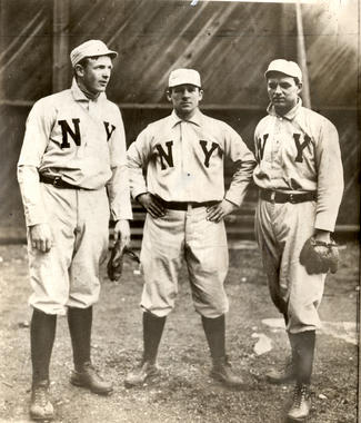 Hall of Famers (from left) Christy Mathewson, John McGraw and Joe McGinnity during the 1905 season. Pitchers Mathewson and McGinnity combined for 52 victories, while McGraw managed the Giants to a National League-best 105 wins that season. BL-15104-68 (National Baseball Hall of Fame Library)