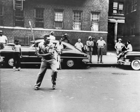 Willie Mays playing stickball in street Harlem, NY, c. 1950's. BL-1228.92