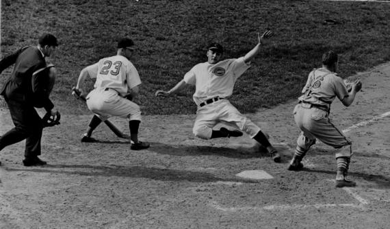 McCormick sliding into home plate against an unidentified team. BL-7157.70 (National Baseball Hall of Fame Library)