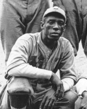 Jose 'Black Diamond' Mendez, noted for his blazing fastball and sharp curve. Image taken from 1920 K.C. Monarchs team photo - BL-167-79 (National Baseball Hall of Fame Library)