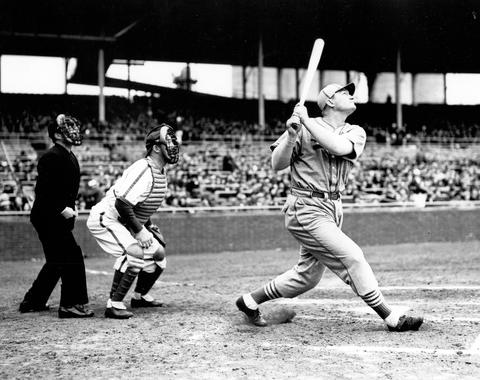 Johnny Mize of the St. Louis Cardinals batting. - BL-261-71 (National Baseball Hall of Fame Library)