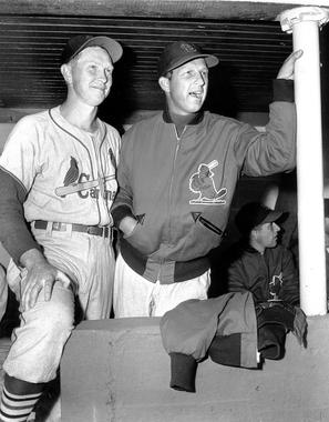 Hall of Fame teammates Red Schoendienst (left) and Stan Musial helped power the Cardinals to a World Series title in 1946. BL-3300-2000 (National Baseball Hall of Fame Library)