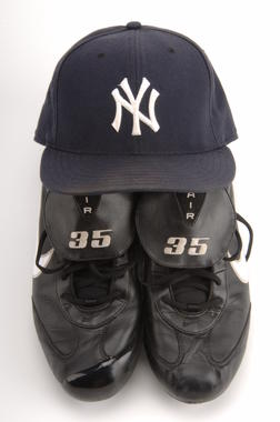 Mike Mussina of the Yankees wore these spikes and this cap on Sept. 28, 2008 when he won his 20th game of the season – becoming the oldest first-time 20-game winner in big league history. - B-260-2008 (Milo Stewart, Jr./National Baseball Hall of Fame)