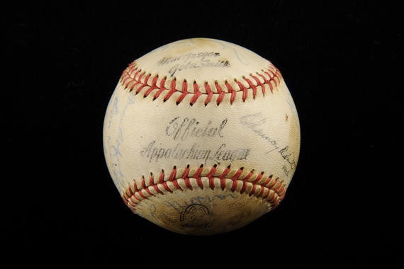 Ball used by Ron Necciai to strikeout 27 batters. B-299.2000 (Milo Stewart, Jr. / National Baseball Hall of Fame Library)