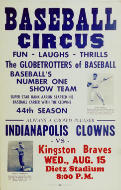 Handbill for a game between the Indianapolis Clowns and the Kingston Braves. BL-118.2008.1 (National Baseball Hall of Fame Library)