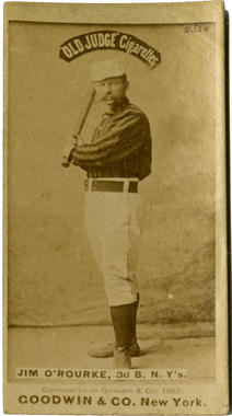 James O'Rourke Old Judge cigarette card. Full-length with bat - BL-358-4 (National Baseball Hall of Fame Library)
