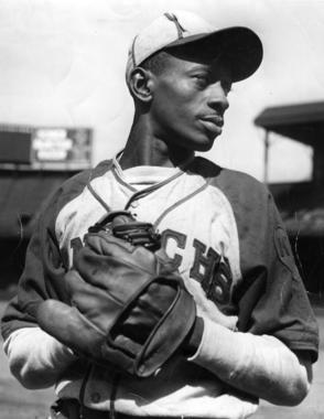 Leroy Satchel Paige, Kansas City Monarchs.  BL-177-79 (National Baseball Hall of Fame Library)