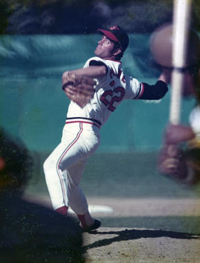 Jim Palmer of the Baltimore Orioles pitching in game - BL-2157-73 (National Baseball Hall of Fame Library)