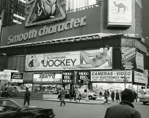 Jim Palmer on a Jockey underwear billboard in Times Square, November 13, 1990. - BL-1449-91 (National Baseball Hall of Fame Library)
