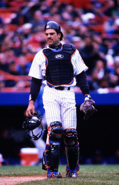 New York Mets catcher Mike Piazza, April 23, 2000. - BL-1552-2005 (Rich Pilling/National Baseball Hall of Fame Library)