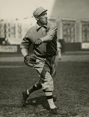 Eddie Plank throwing a ball while with the Oakland Athletics - BL-2231-80 (Charles M. Conlon/National Baseball Hall of Fame Library)