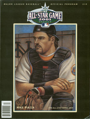 Mike Piazza on the cover of the 2001 All-Star Game program. BL-189.2012 (National Baseball Hall of Fame Library)