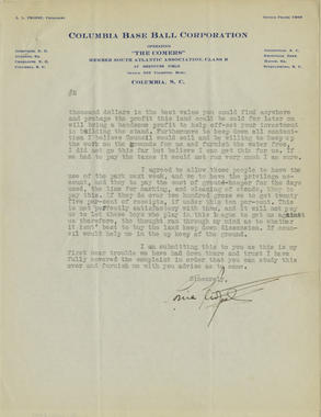 Page 2 - Letter dated August 27, 1928, from L.L. Propst, president of the Columbia Comers minor league team, to Barney Dreyfuss, owner of Pittsburgh Pirates. Propst discusses matters regarding the ballpark lease and the Columbia City Council. - BL-1074-2001 (National Baseball Hall of Fame Library)