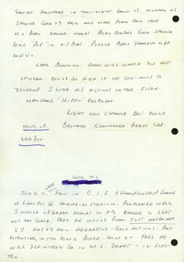 Reverse side of 1971 Prospect Report on George Brett from Kansas City Royals scout, Tom Ferrick includes some of Tom's handwritten notes. BL-2346-2004 (National Baseball Hall of Fame Library)