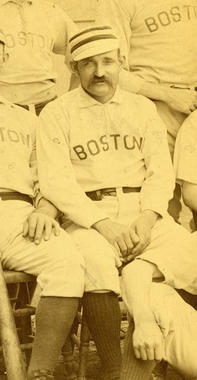 Detail of Charles Radbourn in team portrait of the 1889 Boston Red Stockings - BL-419-52 (National Baseball Hall of Fame Library)
