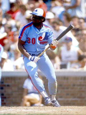 Tim Raines of the Montreal Expos attempts to bunt during an MLB game versus the Chicago Cubs at Wrigley Field in Chicago, Illinois. - BL-010813 (Ron Vesely/National Baseball Hall of Fame Library)