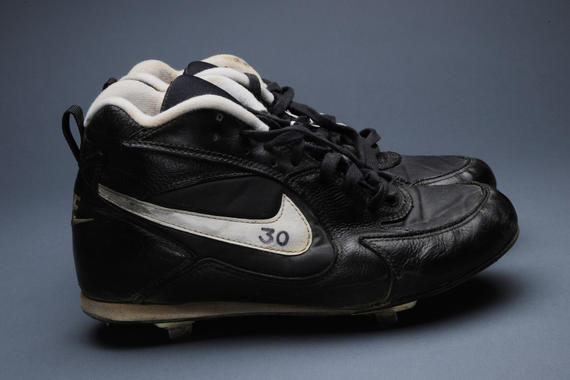 Tim Raines of the White Sox wore these spikes while stealing his American League-record 37th consecutive base on July 18, 1995. - B-147-95 (Milo Stewart, Jr./National Baseball Hall of Fame)