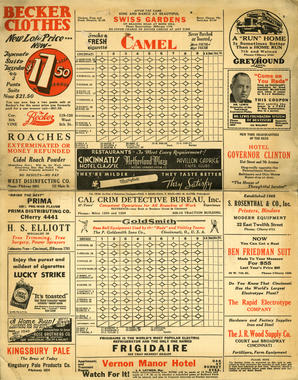 This Cincinnati scorecard from September 1932 provides uniform numbers for the Reds and the visiting Chicago Cubs. Mark Koenig, acquired in August from Mission in the Pacific Coast League, is shown wearing No. 9 for the Cubs a month after Rogers Hornsby was fired. BL-3720-68 (National Baseball Hall of Fame Library)