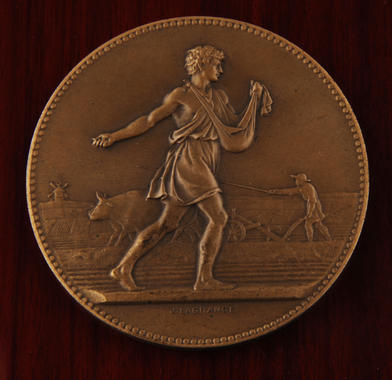 Bronze medallion presented by the French Republic to Sam Rice as a member of  the 1924 Chicago White Sox and New York Giants European tour - B-205-2006 (Milo Stewart Jr./National Baseball Hall of Fame Library)