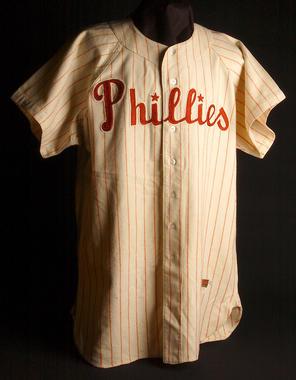 Philadelphia Phillies uniform shirt worn by Rich Ashburn in the 1950 World Series - B-264.95  (Milo Stewart Jr./National Baseball Hall of Fame Library)