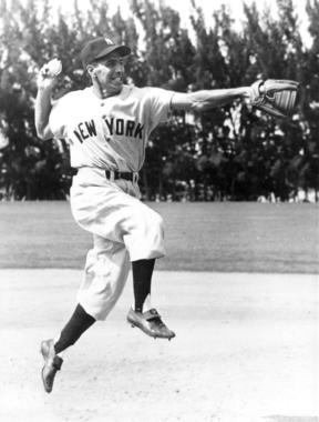 Phil Rizzuto leaps and throws ball - BL-1335-82 (National Baseball Hall of Fame Library)