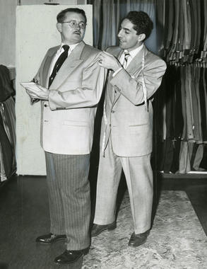 In the offseason, Phil Rizzuto would sell suits at a store in Newark, N.J. - BL-3180.68 (National Baseball Hall of Fame Library)