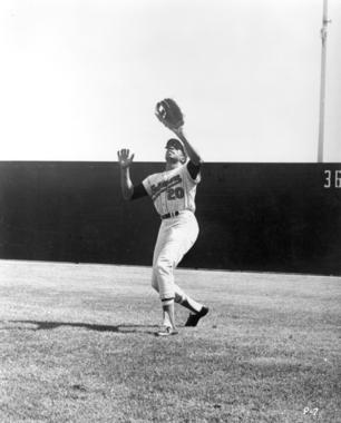 Frank Robinson of the Baltimore Orioles about to make catch - BL-6531-88 (National Baseball Hall of Fame Library)