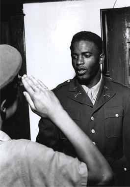 Jackie Robinson being sworn into military service. BL-1271-96 (Look Magazine / National Baseball Hall of Fame Library)