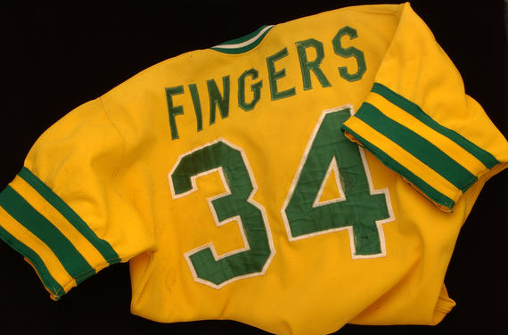 Uniform jersey worn by Rollie Fingers during the 1974 World Series - B-420-74 (Milo Stewart Jr./National Baseball Hall of Fame Library)