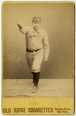 Old Judge cabinet card for Amos Rusie of Indianapolis, c. 1889 - BL-141-46 (National Baseball Hall of Fame Library)