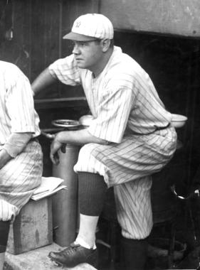Hall of Famer Babe Ruth in the New York Yankees' dugout watching the action on the field. BL-1532.68WTee