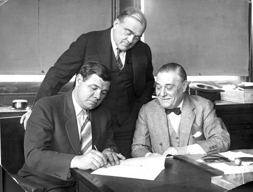 Jacob Ruppert with Babe Ruth signing his contract - BL-1532-68WTff (National Baseball Hall of Fame Library)