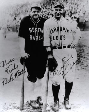 Babe Ruth and Lou Gehrig in their barnstorming uniforms. BL-165.60