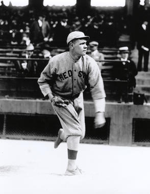 Babe Ruth of the Boston Red Sox warming up before a game. BL-6284-95 (National Baseball Hall of Fame Library)