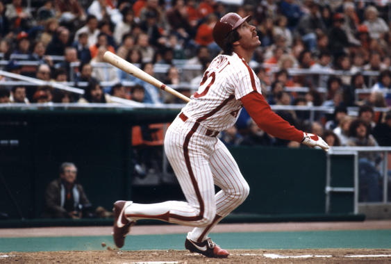 Mike Schmidt's total of 548 career home runs ranks 15th all-time in baseball history. BL-1942-2002 (National Baseball Hall of Fame Library)