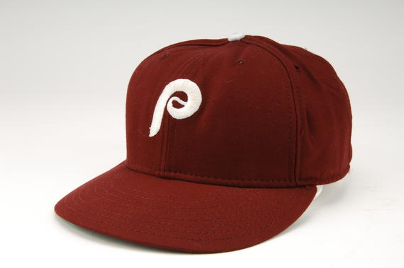 Philadelphia Phillies cap worn by Mike Schmidt when he recorded his 500th career home run, April 18, 1987 at Pittsburgh's Three Rivers Stadium. B-50-87 (Milo Stewart, Jr. / National Baseball Hall of Fame)