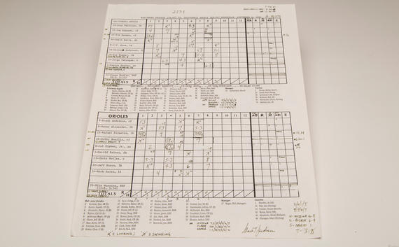 Scoresheet from Cal Ripken's 2,131 game - breaking Lou Gehrig's consecutive games played streak, Sept. 6, 1995. BL-1131-99 (Parker Fish / National Baseball Hall of Fame)