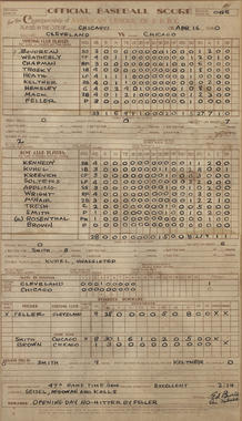Bob Feller of the Indians no-hit the Chicago White Sox on April 16, 1940 – the only Opening Day no-hitter in history. This score sheet from the Museum's Library Archive documents the White Sox's historic day as the only team with all their players to finish a game with the same batting average they started with: .000. BL-1-2012 (National Baseball Hall of Fame Library)
