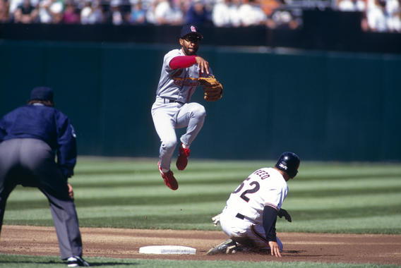 St. Louis Cardinals shortstop Ozzie Smith forces out San Francisco Giants base runner Jeff Reed at second base as he turns a double play during their game at Candlestick Park in San Francisco, California in 1993 - BL-BradMangin0702 (Brad Mangin/National Baseball Hall of Fame Library)