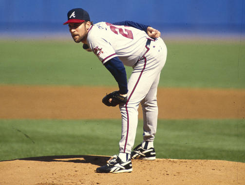 Game action of John Smoltz of the Atlanta Braves, October 1, 1995. - BL-4944-97 (Rich Pilling / National Baseball Hall of Fame Library)