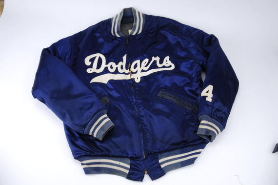 Los Angeles Dodger jacket worn by Duke Snider during the 1959 World Series against the Chicago White Sox - B-27-80 (Milo Stewart Jr./National Baseball Hall of Fame Library)