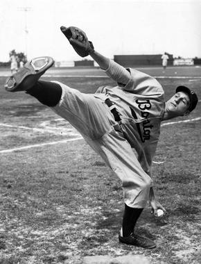 A young Warren Spahn shows off his famous high-kicking windup. BL-3331-68 (William C. Greene / National Baseball Hall of Fame Library)