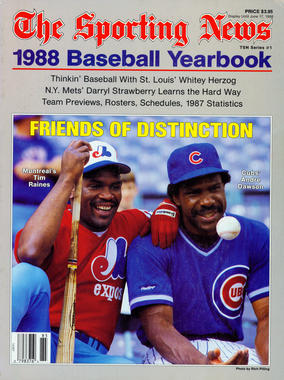 1998 Baseball Yearbook featuring Tim Raines and Andre Dawson on the cover. - BL-80-2013-38 (National Baseball Hall of Fame Library)