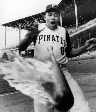 Willie Stargell of the Pittsburgh Pirates and a very hot bat, 1965 - BL-2146-72 (National Baseball Hall of Fame Library)