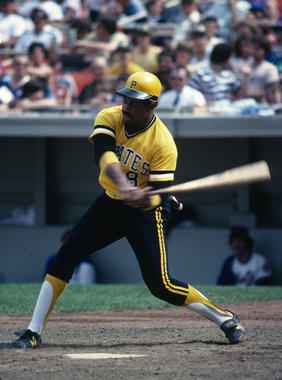 Willie Stargell swings at a pitch. BL-2641-2000 (Rich Pilling / National Baseball Hall of Fame Library)