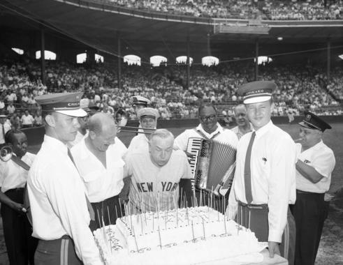 Casey Stengel celebrating his birthday with Bill Veeck at Comiskey Park, August 10, 1959 - BL-2847-70b (Chicago Today/National Baseball Hall of Fame Library)