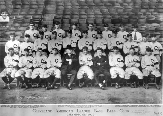 The 1920 Cleveland Indians. Graney is in the middle row, second man in on the left. Bl-1774.73 (National Baseball Hall of Fame Library)