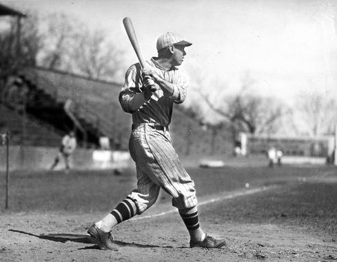 Bill Terry of the New York Giants posed batting - BL-694-68 (National Baseball Hall of Fame Library)