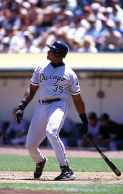 Game action batting of Chicago White Sox Frank Thomas, 1997 - BL-12-2012-2082 (Brad Mangin/National Baseball Hall of Fame Library)