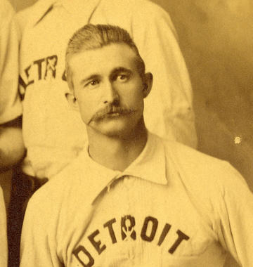 Detail showing Sam Thompson from a team portrait of the Detroit Wolverines (NL), 1886 - BL-43-39 (Tomlinson/National Baseball Hall of Fame Library)